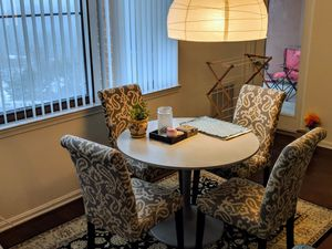 Set of 4 pretty dining chairs + table for Sale in Rockville, MD