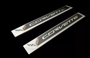 Photo [Set of 2] 2014-2018 Corvette C7 Door Sill Plate OEM Genuine GM 22789326
