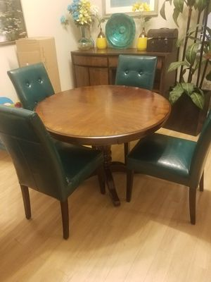 Dining Table and 4 Teal Chairs for Sale in Arlington, VA