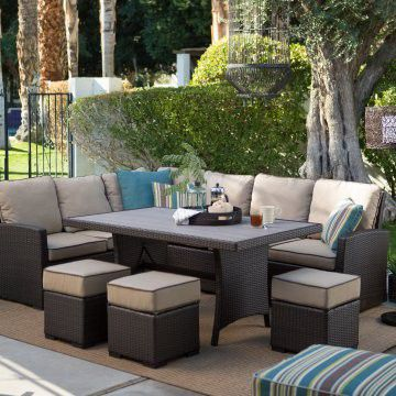 New All Weather Wicker Sofa Sectional Patio Dining Set
