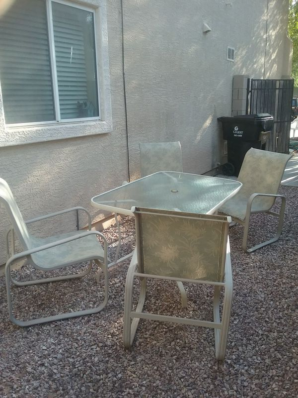 5 pc outdoor patio furniture set table and 4 chairs (Home & Garden) in  Gilbert, AZ - OfferUp - 5 Pc Outdoor Patio Furniture Set Table And 4 Chairs (Home & Garden