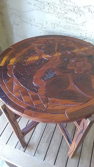 Photo Mid Century Hand Made unique table. About 2 ft high. 2 PC. One side is checker table other fish design.