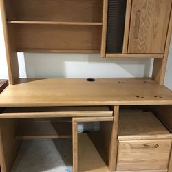 Computer Desk, Can Be Used For Virtual School Lessons , Working From Home, It Has A Top Cabinets, A Draw, another Pull Out Desk, Local Curbside Picku Thumbnail