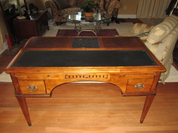 French Antique Cherry Wood Captain's Desk - French Antique Cherry Wood Captain's Desk For Sale In Darien, CT