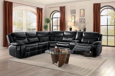 Bastrop black reclining sectional sofa Thumbnail
