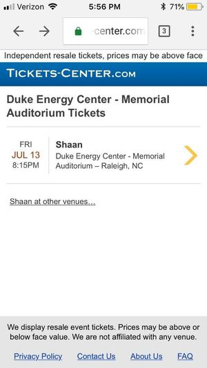 Shaan concert tickets half price! for Sale in Cary, NC