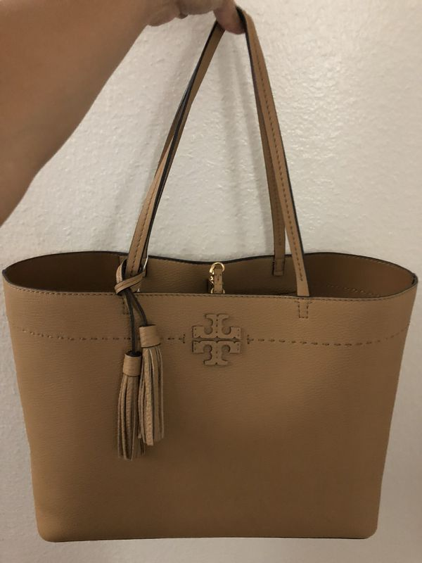d23bbd4268d AUTHENTIC Tory Burch Mcgraw Tote in Baguette  Dark Tiramisu NEW WITH ...