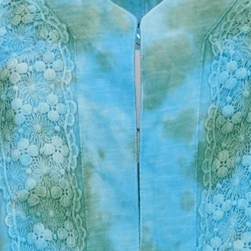 LOGO Lavish by Lori Goldstein Women's Sweater Sz XL Tie Dyed Duster Blue A394116