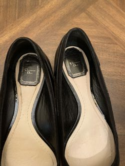 Christian Dior women's flats loafers black leather Thumbnail