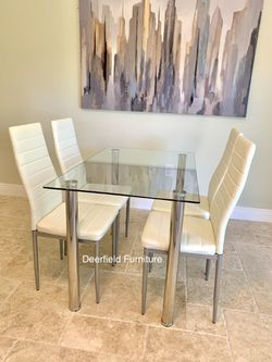 New White Dining Table Set with Tempered Glass Top Table & 4 Chairs - Dining Furniture Set Thumbnail