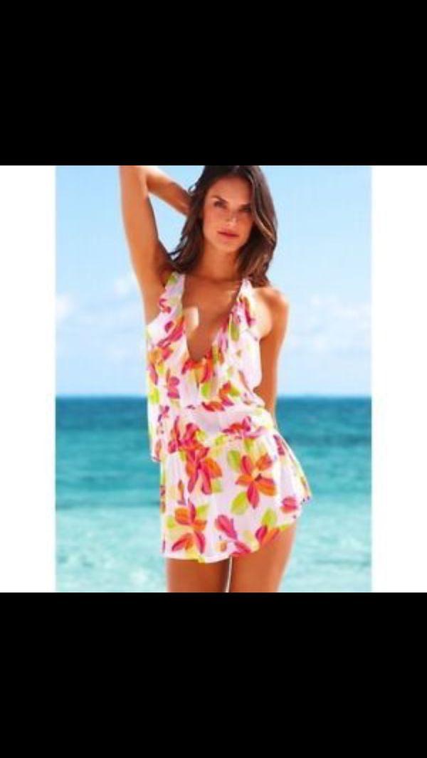 874700bdb85ac Victoria's Secret sexy pink floral bikini beach cover up dress short ruffle bathing  suit tank top in free bag