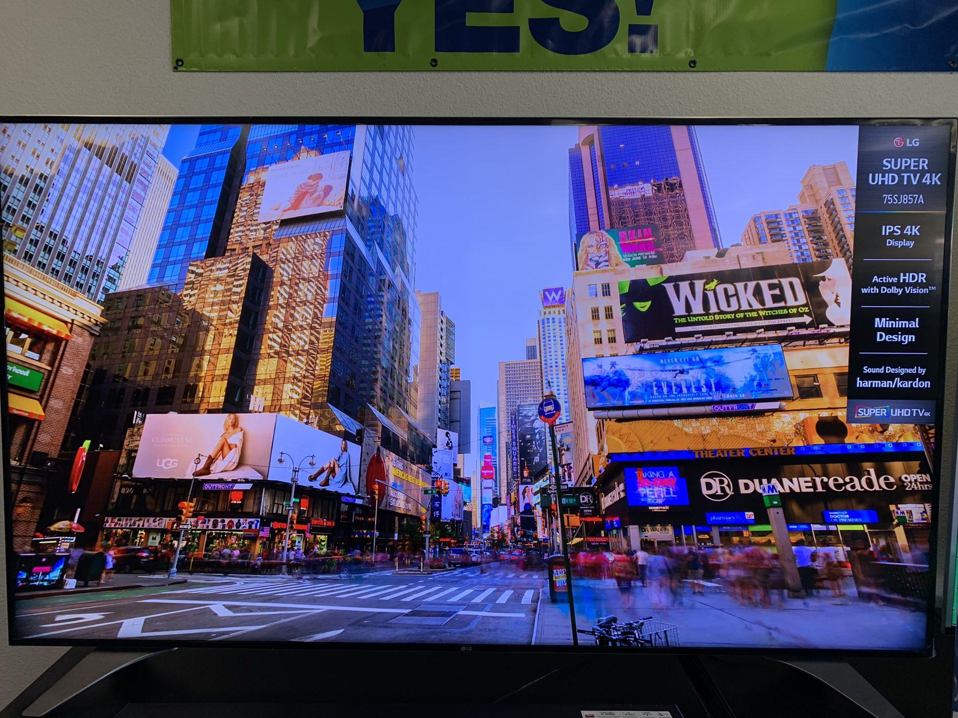 "75"" LG 4K IPS 4K HDR SMART TV ( sounds harman/kardon)"