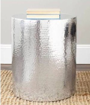 Silver hammered side table for Sale in New York, NY