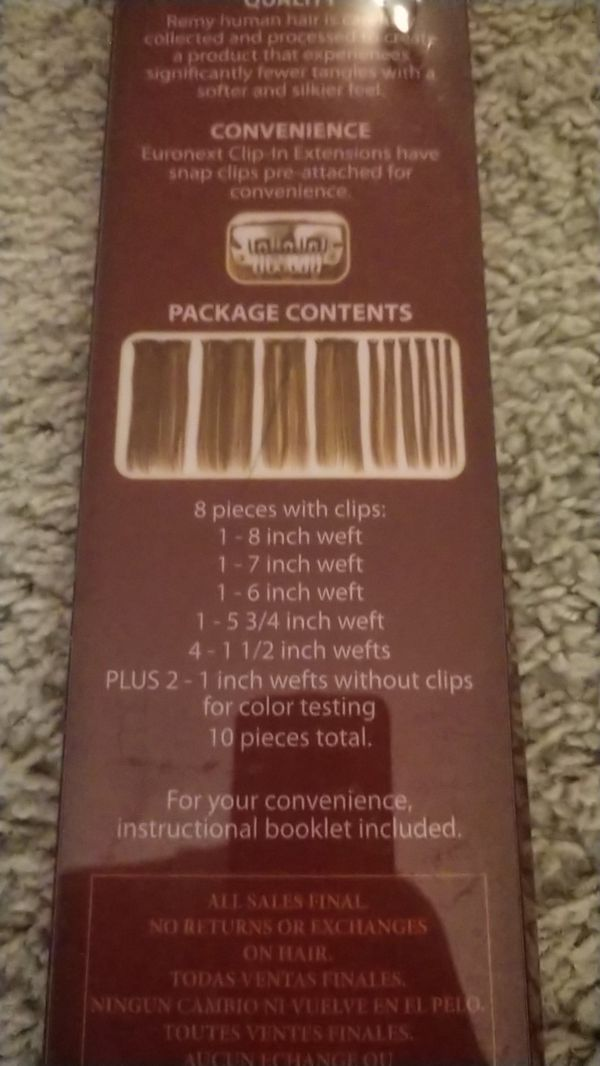 Euronext Collection 14 Clip In Human Hair Extensions For Sale In