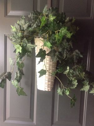 GREEN IVY LIKE PLANT IN A WHITE BASKET for Sale in Ashland, VA