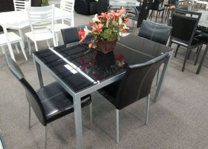 Brand New 5 Piece Black Glass Dining Set for Sale in Silver Spring, MD