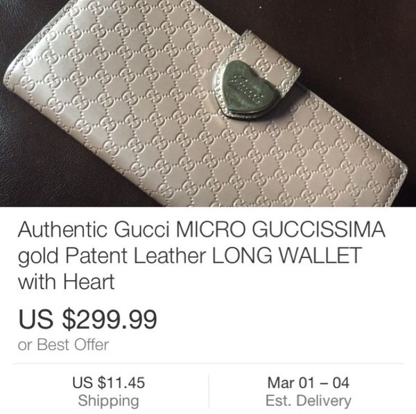 153403f4394 100% authentic Gucci MICRO GUCCISSIMA gold Patent Leather LONG WALLET