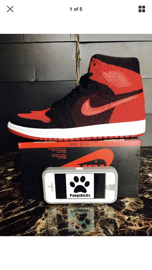 3ce840b8f296 Nike Air Jordan 1 Retro High Flyknit Banned Bred Black Red 919704-001 Size  14-15
