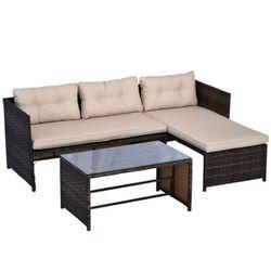 3 Piece Outdoor Patio Sofa & Lounge Set Thumbnail