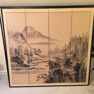 """3 Authentic Asian Silk Screens; u - Height: 5' 1"""" X Length 4' 8"""" X Width: 3/4"""". Excellent Condition. for Sale in Cary, NC"""