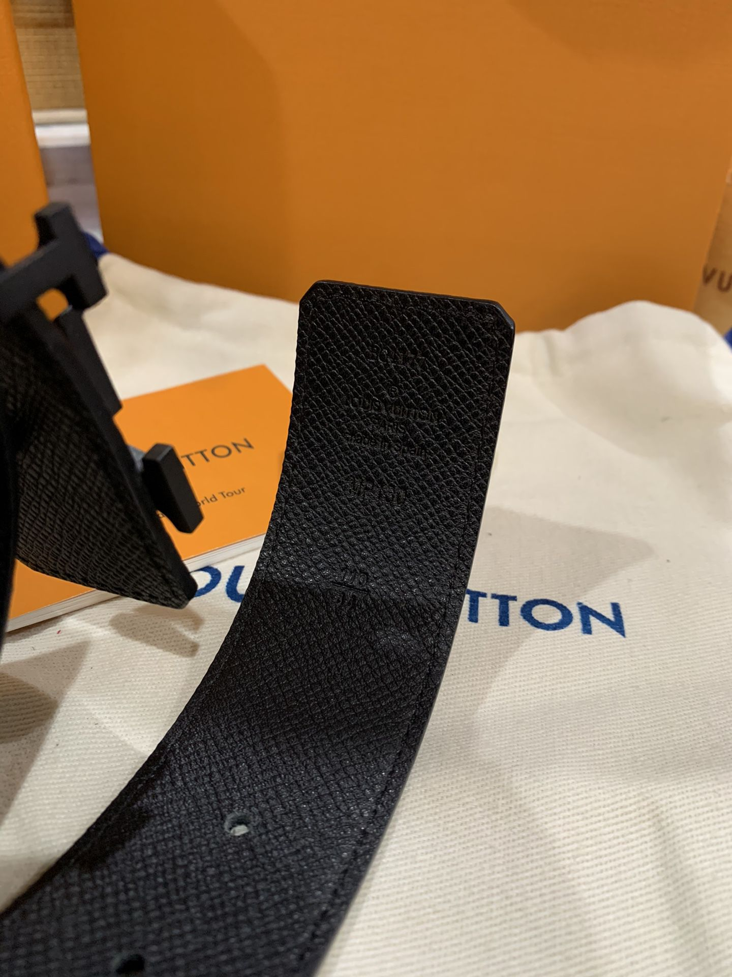 LV Initiales Belt Black Leather Eclipse Monogram Size 110cm