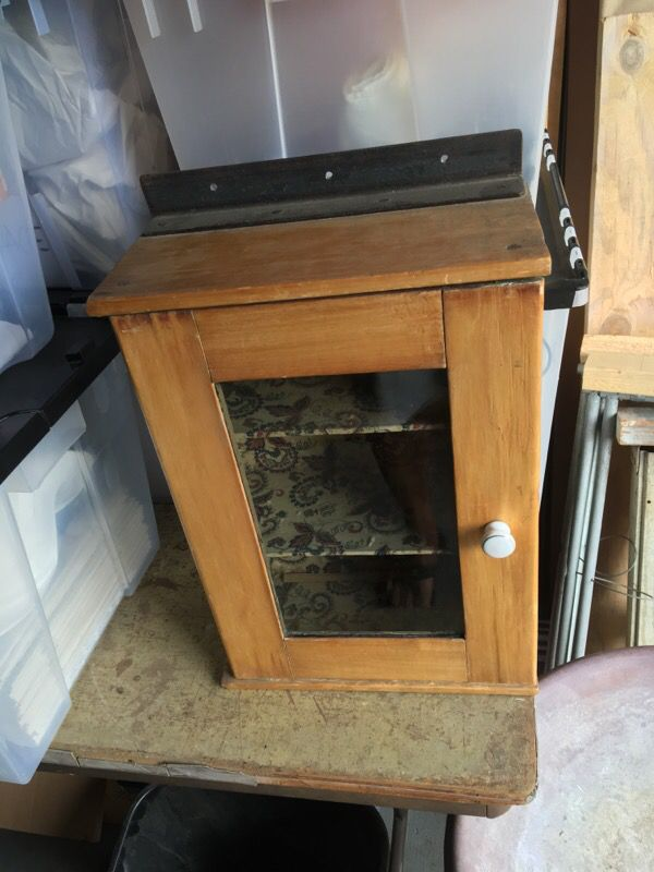 Vintage Solid Wood Glass Door Cabinet For Sale In Diamond Bar Ca