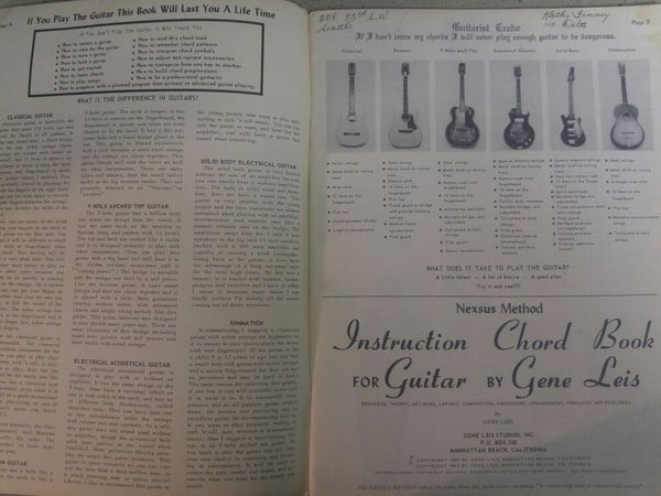 Instruction Chord Book For Guitar By Gene Leis Nexsus Method 1964