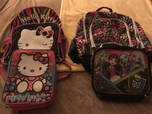 2 backpacks with lunch bags $5 per set hello kitty sold have the other left for Sale in Clovis, CA