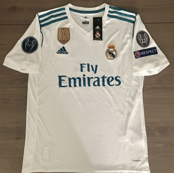 huge selection of 82cf4 e6a28 Real Madrid home white Ronaldo #7 men adidas soccer jersey Champions league  Gold fifa patch for Sale in Miami, FL - OfferUp