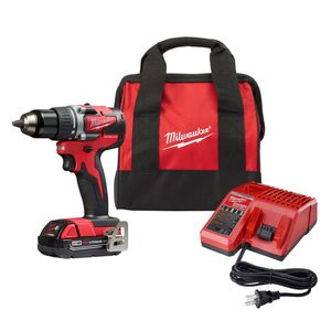 ilwaukee M18 18-Volt Lithium-Ion Compact Brushless Cordless 1/2 in. Drill/Driver Kit W/ (1) 2.0 Ah Battery, Charger & Tool Bag for Sale in Silver Spring, MD
