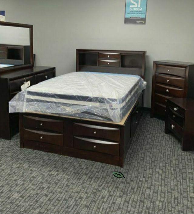 🍾🍾..$39 Down Payment      SPECIAL] Emily Dark Cherry Storage Platform Bedroom Set
