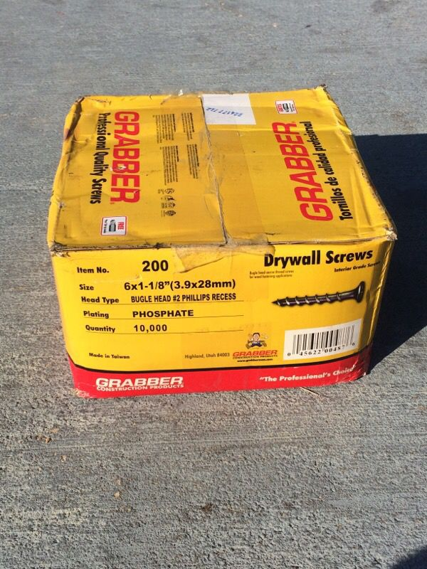 GRABBER Drywall screws 8x1-1/8  10,000 pieces for Sale in Kissimmee, FL -  OfferUp
