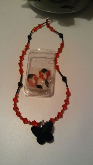 Woman's red and black butterfly necklace and earrings set for Sale in Cleveland, OH