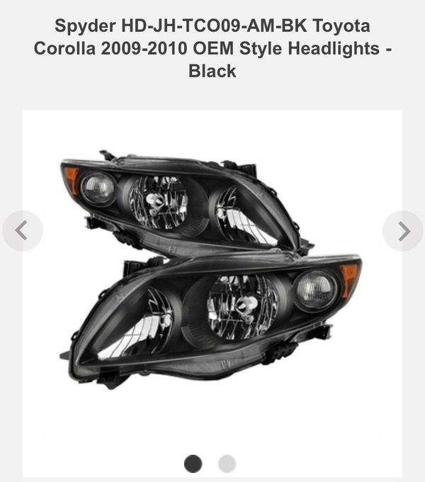 2010 toyota corolla black headlights