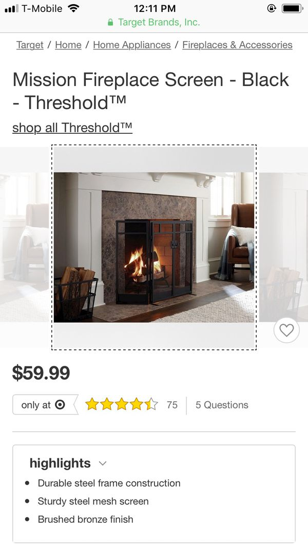 a9731be17bc Threshold fireplace screen for Sale in Chicago
