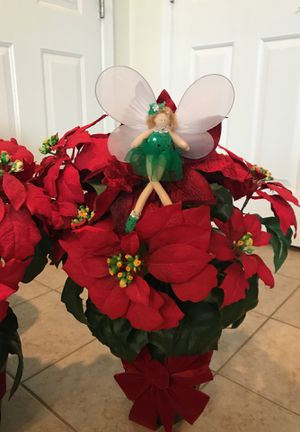 Gorgeous!!! Silk Christmas potted Pointe Sett Arrangement With Magic Fairy for Sale in Gainesville, VA