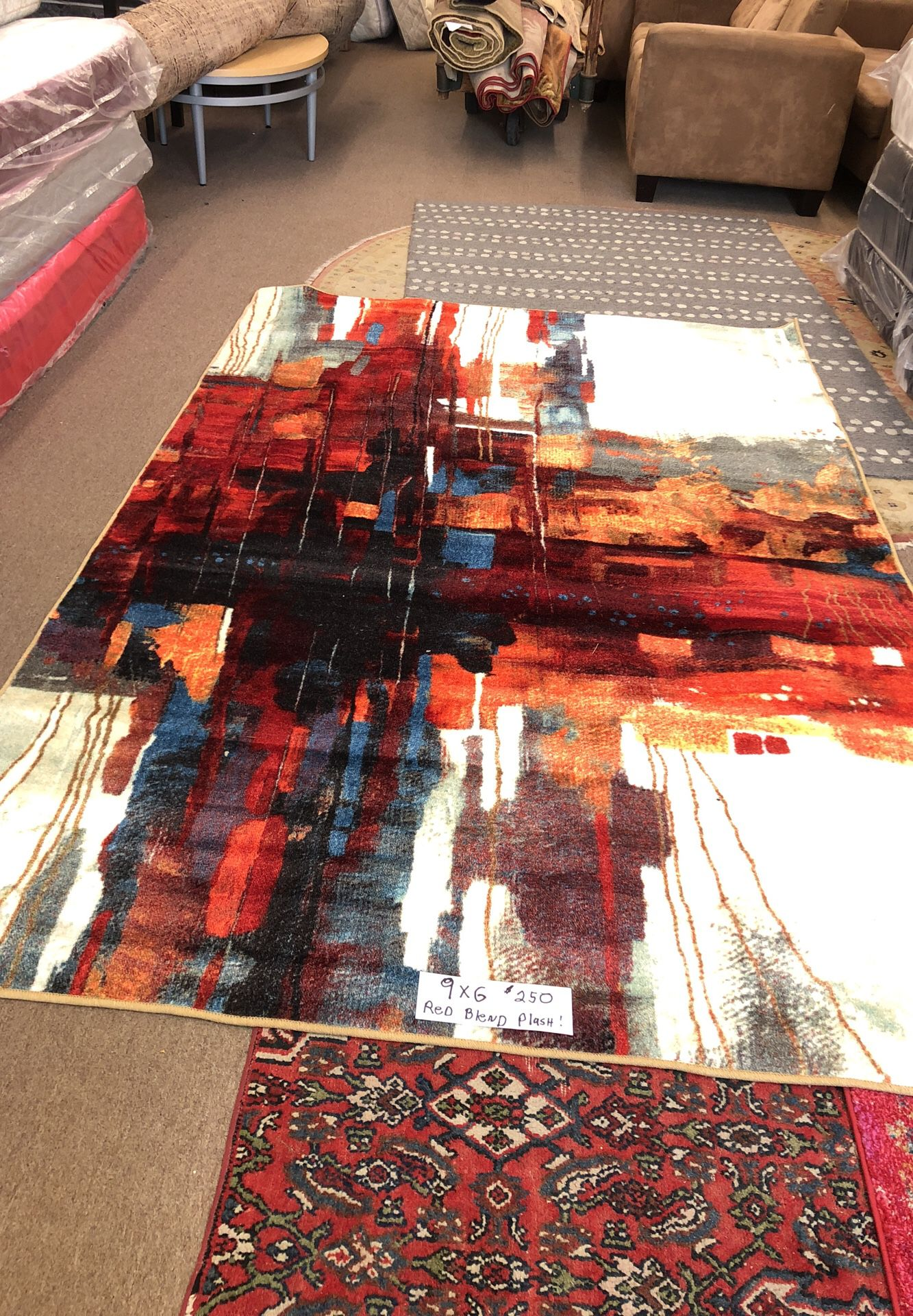 Rug. Red Blend. Beautiful Colors. Deep Plush. $250. OBO. Red Blend