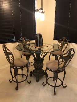 Dining Room Set High Top Four Chairs, Pineapple Dining Room Set