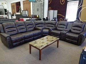 Brand new Brown bonded leather reclining sectional for Sale in Beltsville, MD