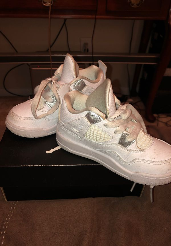 low priced 76a14 2f400 Size 9c pure money 4s all white for Sale in Houston, TX - OfferUp
