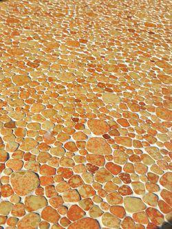 Retro Mid Century Orange Mosaic Glazed Tile Coffee Table | 60s 70s Funky coffee table Thumbnail