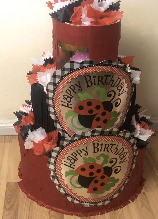 Stupendous Ladybug Happy Birthday Cake Pinata With Balls For Sale In Ontario Funny Birthday Cards Online Elaedamsfinfo