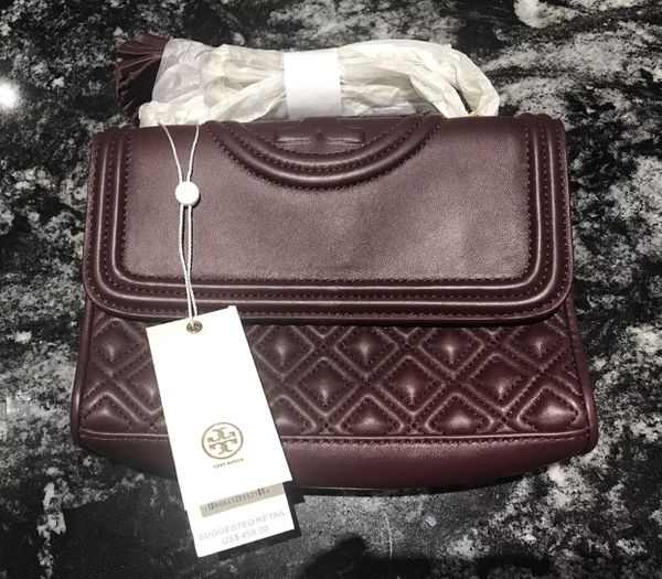 263ce05c98d Tory Burch 31382 Fleming small convertible shoulder bag red wine NWT SRP 450