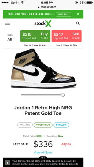 Jordan Retro 1 Gold Toe for Sale in Cheverly, MD
