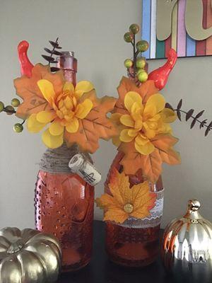 Thanksgiving/Fall home decor glass bottle for Sale in Menifee, CA