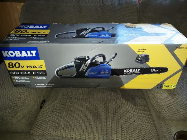 "New Kobalt 80 Volt Cordless 18/"" Chainsaw with 80V Battery /& Charger"