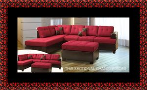 Red sectional with ottoman for Sale in Lanham, MD