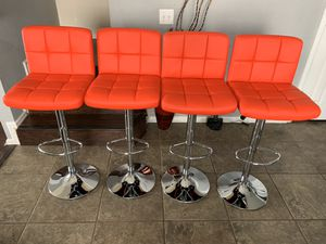 Photo New set of 4 red bar stools (plush) / red pub stools height adjustable and swivel
