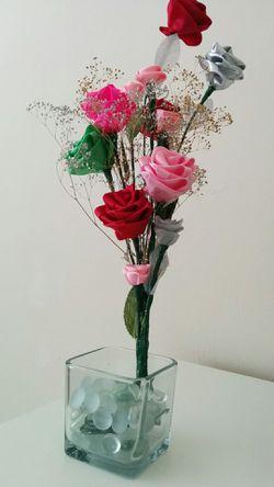 Beautiful handmade roses with pot Thumbnail