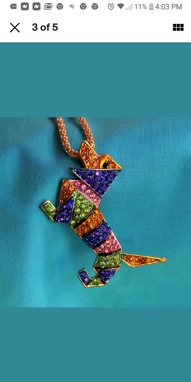Betsey Johnson Rhinestone Dachshund Necklace